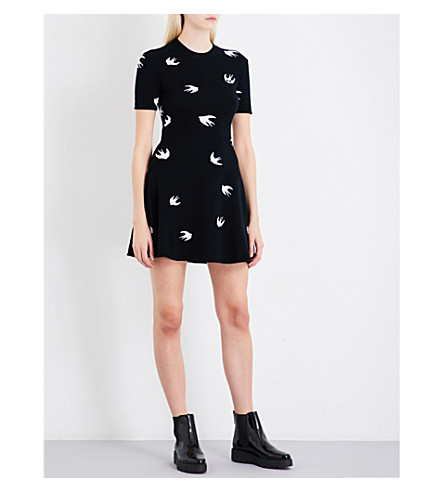 MCQ ALEXANDER MCQUEEN Swallow-flocked fit-and-flare wool and cashmere-blend mini dress (Darkest+black