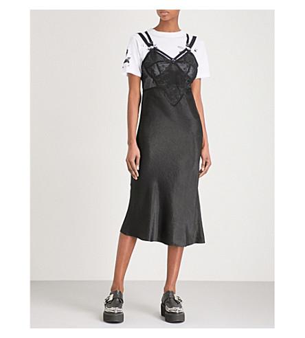 MCQ ALEXANDER MCQUEEN Detachable T-shirt V-neck satin dress (Black