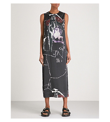 MCQ ALEXANDER MCQUEEN Graphic-print silk-satin maxi dress (Darkest+black