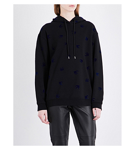 MCQ ALEXANDER MCQUEEN Swallow cotton-jersey hoody (Black+carbon+navy+floc