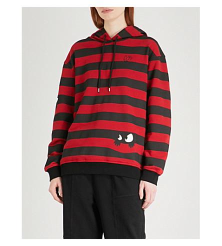 MCQ ALEXANDER MCQUEEN Boyfriend striped cotton-jersey hoody (Stripd+black/amp+red