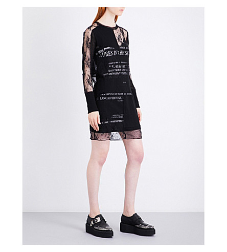 MCQ ALEXANDER MCQUEEN Slogan-print mesh and cotton dress (Darkest+black