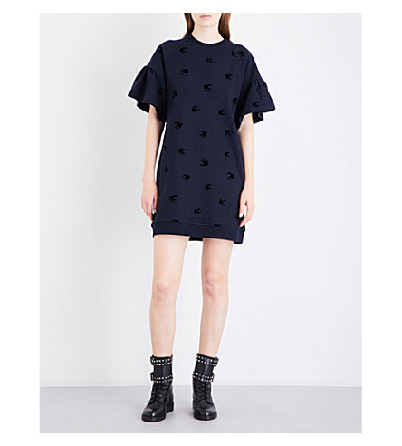 MCQ ALEXANDER MCQUEEN Swallow-flocked cotton-jersey mini dress (Ink+dk+black+flock