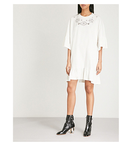MCQ ALEXANDER MCQUEEN Embellished cotton-jersey mini dress (Ivory