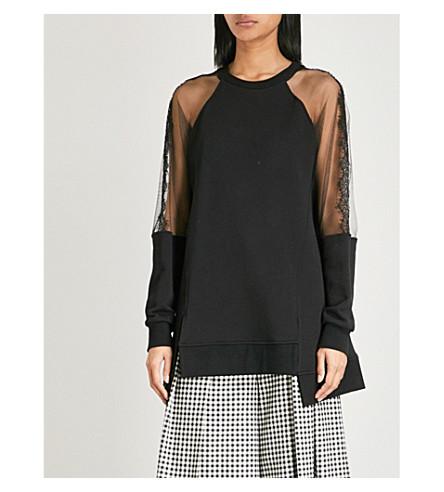 MCQ ALEXANDER MCQUEEN Hybrid asymmetric cotton-jersey sweatshirt (Darkest+black