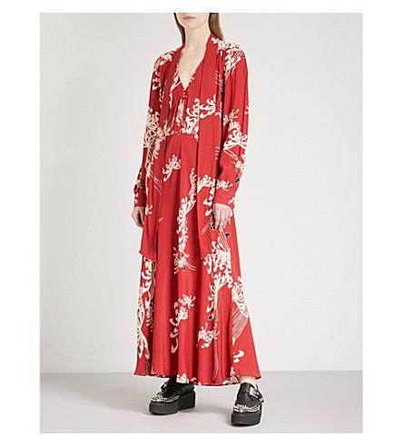 MCQ ALEXANDER MCQUEEN Floral-print woven dress (Amp+red