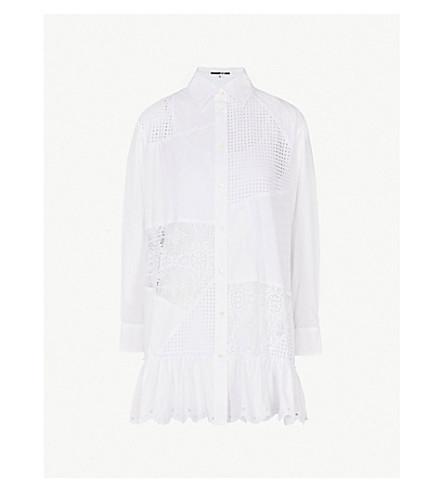 MCQ ALEXANDER MCQUEEN Patchwork broderie anglaise cotton shirt dress (White
