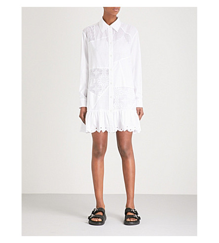 MCQ ALEXANDER MCQUEEN Patchwork broderie anglaise cotton shirt dress (White