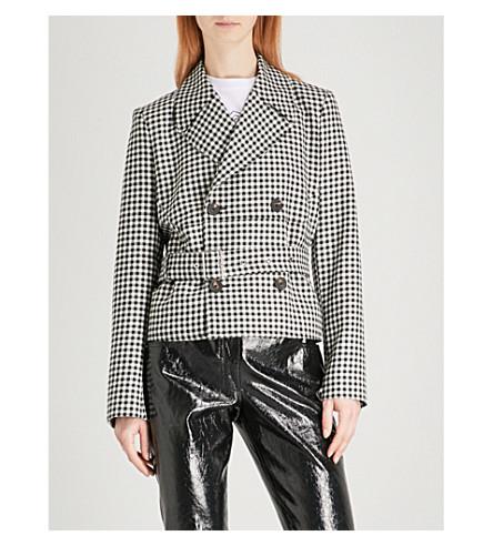 MCQ ALEXANDER MCQUEEN Belted gingham wool jacket (Black/white
