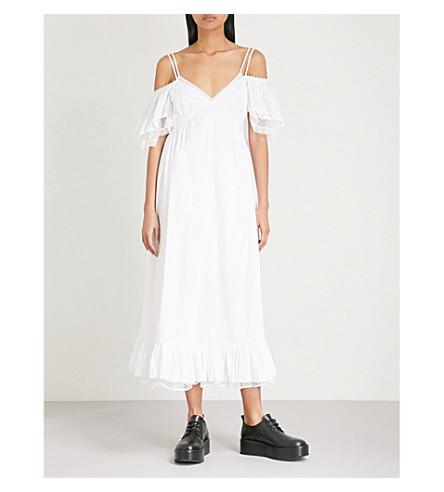 MCQ ALEXANDER MCQUEEN Pleated off-the-shoulder cotton midi dress (Off+white