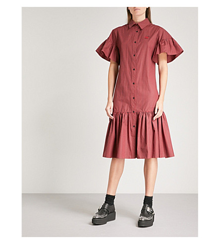 MCQ ALEXANDER MCQUEEN Gingham gathered cotton shirt dress (Amp+red/darkest+blk