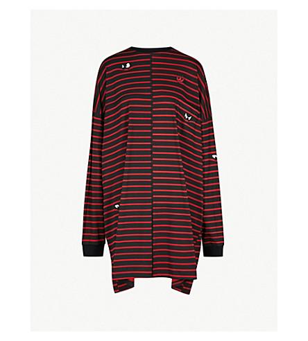 MCQ ALEXANDER MCQUEEN Sriped 平纹针织棉连衣裙 (条纹 + 黑色/红色