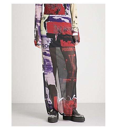 MCQ ALEXANDER MCQUEEN Cobra Club graphic-print mesh skirt (Multicolour