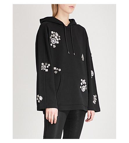 MCQ ALEXANDER MCQUEEN Crystal-embellished cotton-jersey hoody (Darkest+black