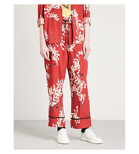 MCQ ALEXANDER MCQUEEN Floral-print woven trousers (Amp red