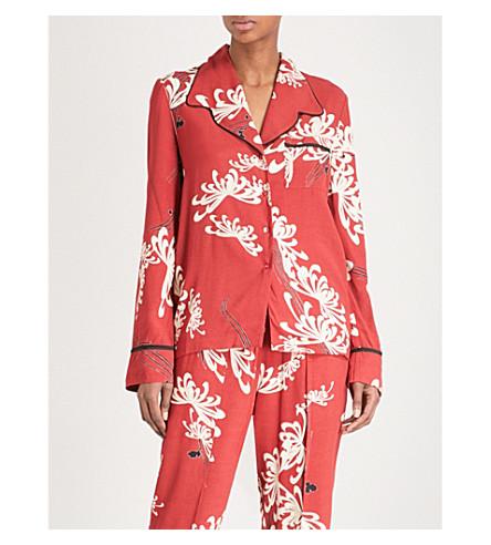 MCQ ALEXANDER MCQUEEN Floral-print revere-collar crepe shirt (Amp+red