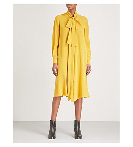 MCQ ALEXANDER MCQUEEN Pussybow silk-crepe de chine dress (Mustard