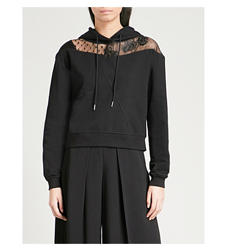 MCQ ALEXANDER MCQUEEN Embroidered mesh-panel cotton-jersey hoody (Black
