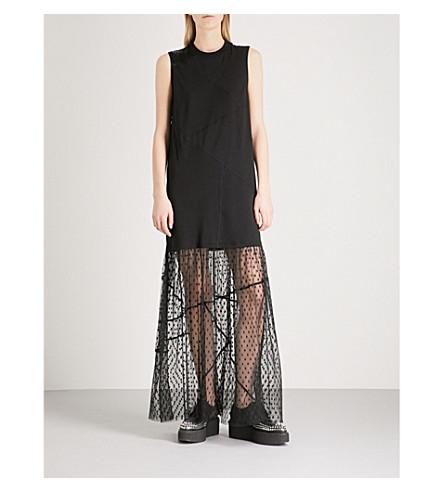 MCQ ALEXANDER MCQUEEN Satin-trim mesh and jersey maxi dress (Black