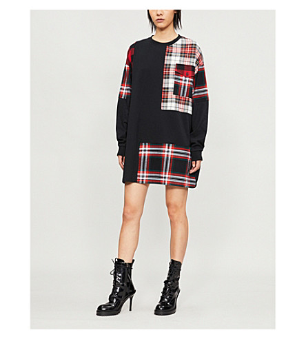 MCQ ALEXANDER MCQUEEN Checked-panel cotton-jersey dress (Black