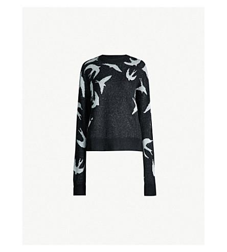 MCQ ALEXANDER MCQUEEN Swallow-intarsia knitted jumper (Black white
