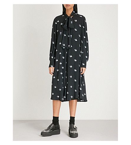 MCQ ALEXANDER MCQUEEN Bird-print woven dress (Midnight+navy