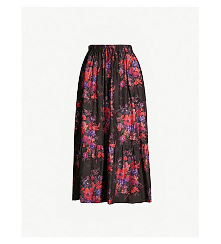 MCQ ALEXANDER MCQUEEN Floral-print ruched silk-satin skirt (Darkest black