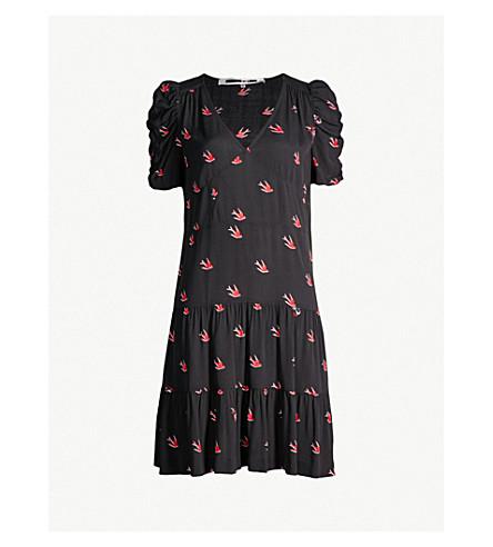 MCQ ALEXANDER MCQUEEN Puff-sleeved bird-print crepe dress (Black/red