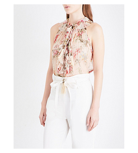 ZIMMERMANN Mercer Ruffle silk-georgette top (Cream+floral