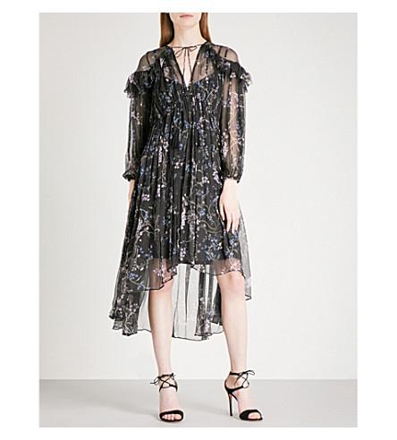 ZIMMERMANN Paradiso Floating silk-georgette midi dress (Black+floral