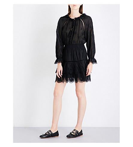 ZIMMERMANN Tulsi Dot Frill embroidered cotton-voile mini dress (Noir