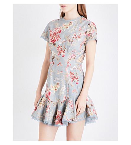 ZIMMERMANN Mercer Flutter linen and cotton-blend mini dress (Blue+floral