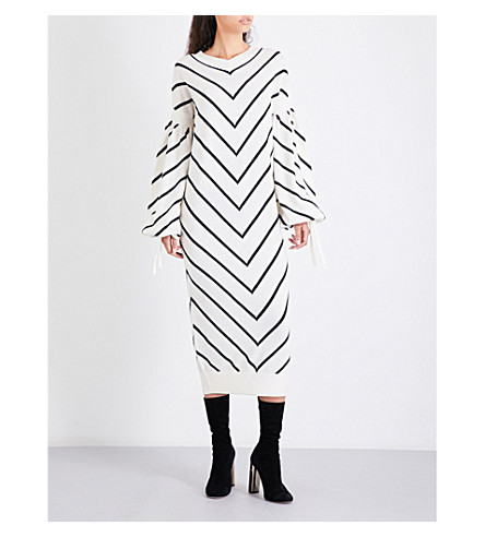 ZIMMERMANN Maples Louche wool and cashmere-blend midi dress (Stripe