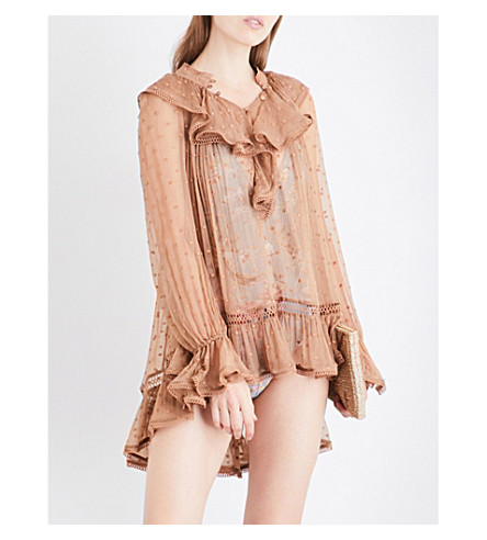 ZIMMERMANN Tulsi Dot Frill embroidered silk-georgette top (Camel