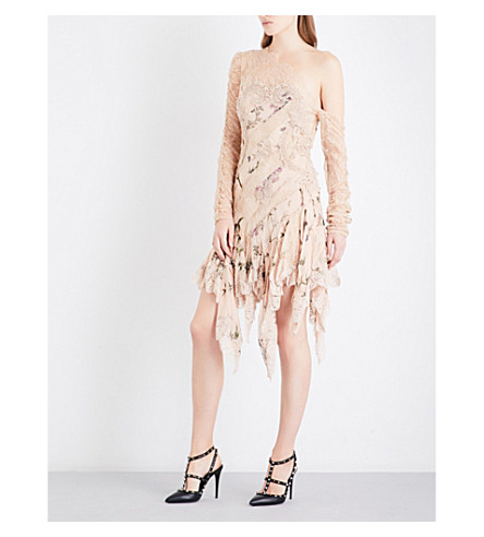 ZIMMERMANN Maples Temperance silk-georgette and floral-lace mini dress (Nectar+floral