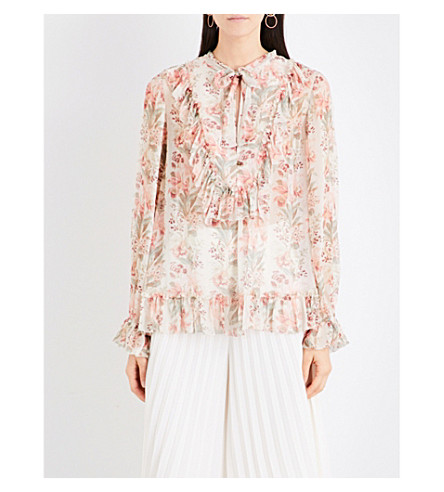 ZIMMERMANN Folly neck-tie silk-georgette blouse (Peach+floral
