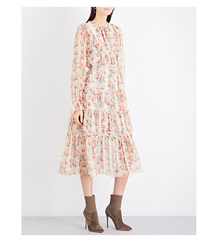 ZIMMERMANN Folly neck-tie silk-georgette dress (Peach+floral