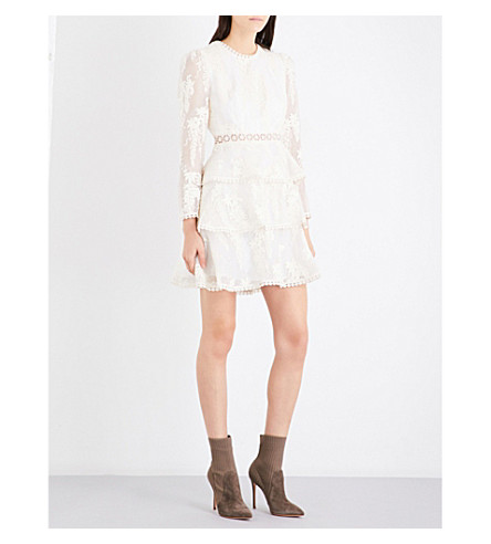 ZIMMERMANN Maples Tier silk-organza mini dress (Pearl
