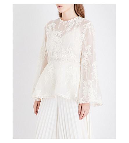 ZIMMERMANN Maples Tier silk-organza blouse (Pearl