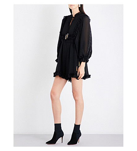 ZIMMERMANN Maples Frill ruffled silk playsuit (Black+stripe