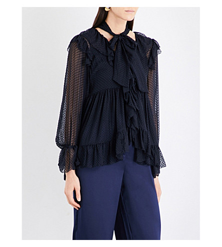 ZIMMERMANN Folly Ruffle silk-blend blouse (Navy+dot