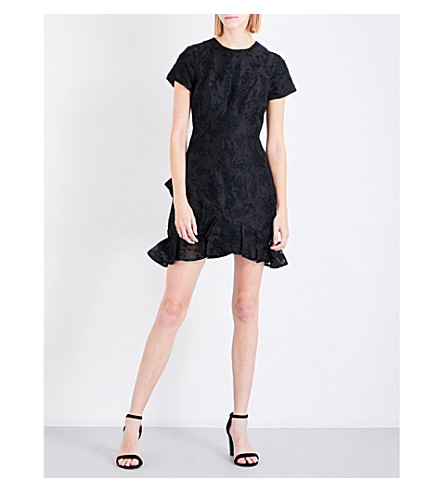 ZIMMERMANN Maples Sun floral-embroidered silk-organza mini dress (Black