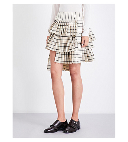 ZIMMERMANN Maples Sportive cotton-sateen mini skirt (Pearl+black