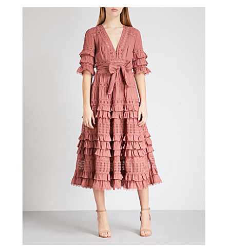 ZIMMERMANN Corsair Frill Tier ruffled cotton-poplin midi dress (Vintage+rose+viro