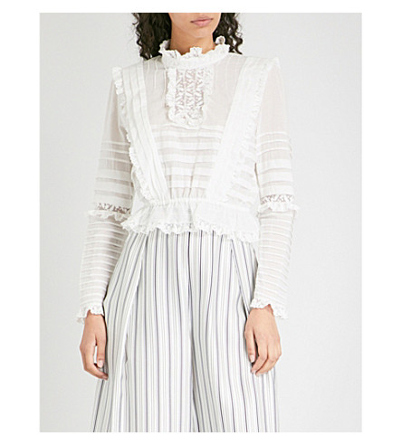 ZIMMERMANN Helm Layered Frill cotton-voile cropped top (Ivory