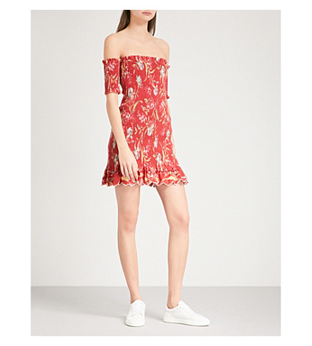 ZIMMERMANN Corsair Shirred Flutter linen and cotton-blend mini dress (Washed+iris+wiri