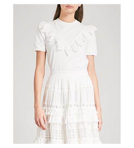 ZIMMERMANN Corsair Frill cotton-jersey T-shirt (Ivory+ivo