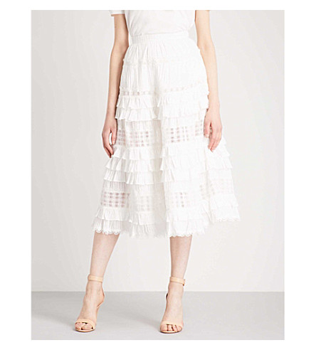 ZIMMERMANN Corsair tiered high-rise cotton skirt (Ivory+ivo