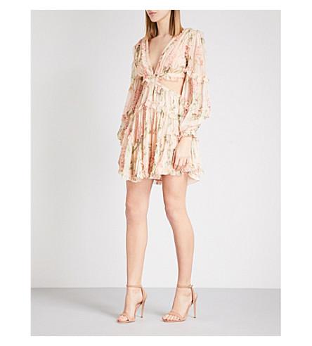 ZIMMERMANN Prima Floating floral-print silk georgette mini dress (Peach+floral+pefl