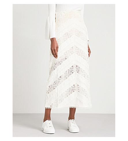 ZIMMERMANN Painted Heart Chevron Lace midi skirt (Cream+crm